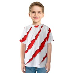 Scratches Claw Red White Kids  Sport Mesh Tee