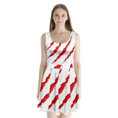 Scratches Claw Red White Split Back Mini Dress