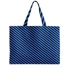 Striped  Line Blue Zipper Mini Tote Bag