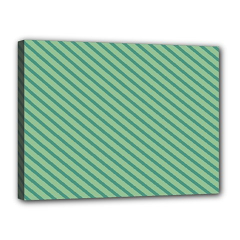 Striped Green Canvas 16  x 12