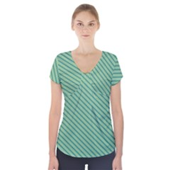Striped Green Short Sleeve Front Detail Top