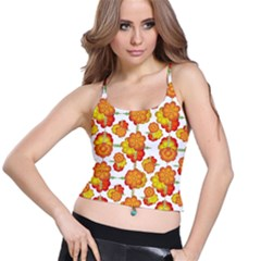 Colorful Stylized Floral Pattern Spaghetti Strap Bra Top
