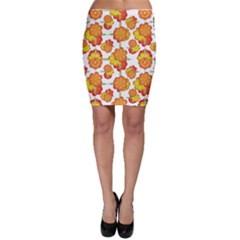 Colorful Stylized Floral Pattern Bodycon Skirt