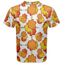 Colorful Stylized Floral Pattern Men s Cotton Tee