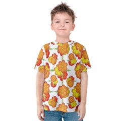 Colorful Stylized Floral Pattern Kids  Cotton Tee