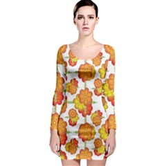 Colorful Stylized Floral Pattern Long Sleeve Bodycon Dress