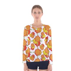 Colorful Stylized Floral Pattern Women s Long Sleeve Tee