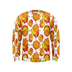 Colorful Stylized Floral Pattern Kids  Sweatshirt