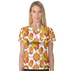 Colorful Stylized Floral Pattern Women s V-Neck Sport Mesh Tee