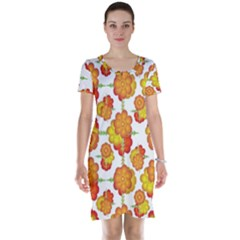 Colorful Stylized Floral Pattern Short Sleeve Nightdress