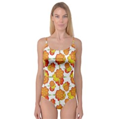 Colorful Stylized Floral Pattern Camisole Leotard