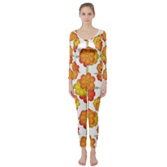 Colorful Stylized Floral Pattern Long Sleeve Catsuit