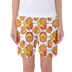 Colorful Stylized Floral Pattern Women s Basketball Shorts