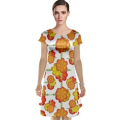Colorful Stylized Floral Pattern Cap Sleeve Nightdress