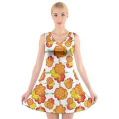 Colorful Stylized Floral Pattern V-Neck Sleeveless Skater Dress