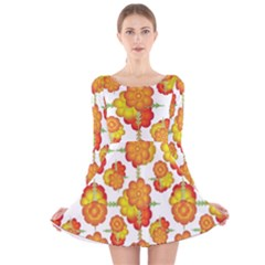 Colorful Stylized Floral Pattern Long Sleeve Velvet Skater Dress