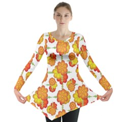 Colorful Stylized Floral Pattern Long Sleeve Tunic