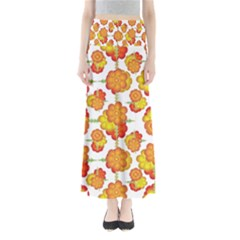 Colorful Stylized Floral Pattern Maxi Skirts