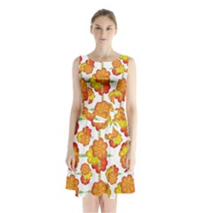 Colorful Stylized Floral Pattern Sleeveless Chiffon Waist Tie Dress