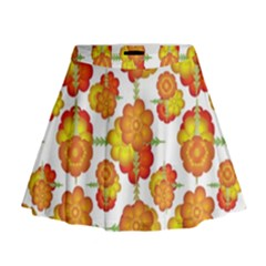 Colorful Stylized Floral Pattern Mini Flare Skirt