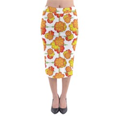 Colorful Stylized Floral Pattern Midi Pencil Skirt