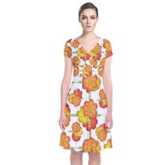 Colorful Stylized Floral Pattern Short Sleeve Front Wrap Dress