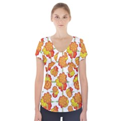 Colorful Stylized Floral Pattern Short Sleeve Front Detail Top