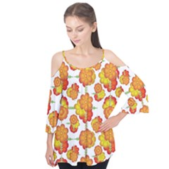 Colorful Stylized Floral Pattern Flutter Tees