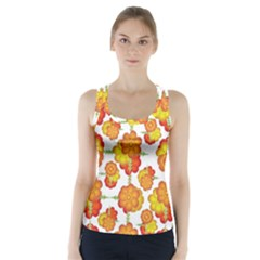 Colorful Stylized Floral Pattern Racer Back Sports Top