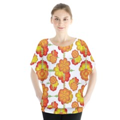 Colorful Stylized Floral Pattern Blouse