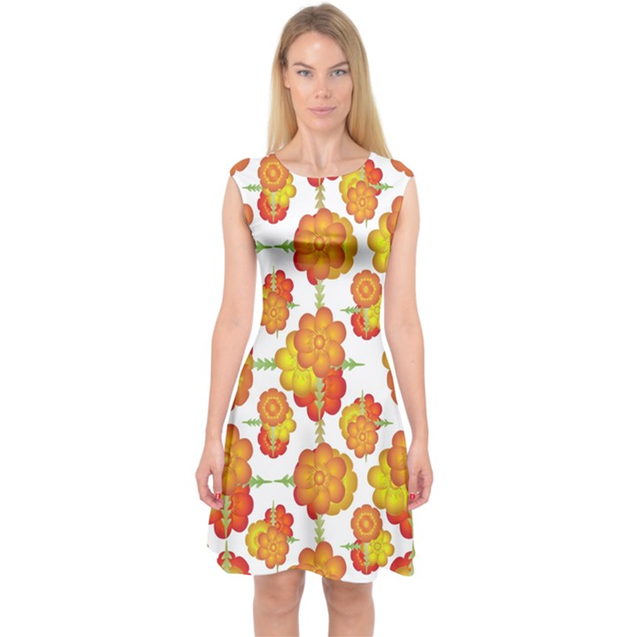 Colorful Stylized Floral Pattern Capsleeve Midi Dress