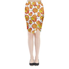 Colorful Stylized Floral Pattern Midi Wrap Pencil Skirt