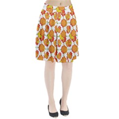 Colorful Stylized Floral Pattern Pleated Skirt