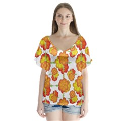 Colorful Stylized Floral Pattern Flutter Sleeve Top