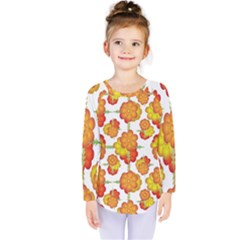 Colorful Stylized Floral Pattern Kids  Long Sleeve Tee