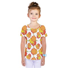 Colorful Stylized Floral Pattern Kids  One Piece Tee