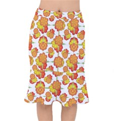 Colorful Stylized Floral Pattern Mermaid Skirt