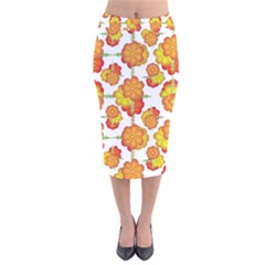 Colorful Stylized Floral Pattern Velvet Midi Pencil Skirt