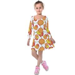 Colorful Stylized Floral Pattern Kids  Long Sleeve Velvet Dress