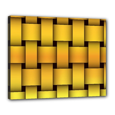 Rough Gold Weaving Pattern Canvas 20  X 16