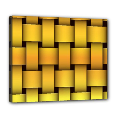 Rough Gold Weaving Pattern Deluxe Canvas 24  X 20