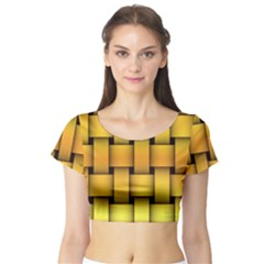 Rough Gold Weaving Pattern Short Sleeve Crop Top (Tight Fit)
