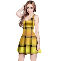 Rough Gold Weaving Pattern Reversible Sleeveless Dress