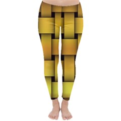 Rough Gold Weaving Pattern Classic Winter Leggings