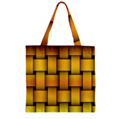Rough Gold Weaving Pattern Zipper Grocery Tote Bag