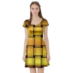 Rough Gold Weaving Pattern Short Sleeve Skater Dress