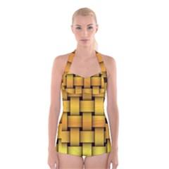 Rough Gold Weaving Pattern Boyleg Halter Swimsuit