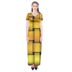 Rough Gold Weaving Pattern Short Sleeve Maxi Dress