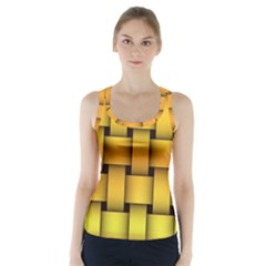 Rough Gold Weaving Pattern Racer Back Sports Top