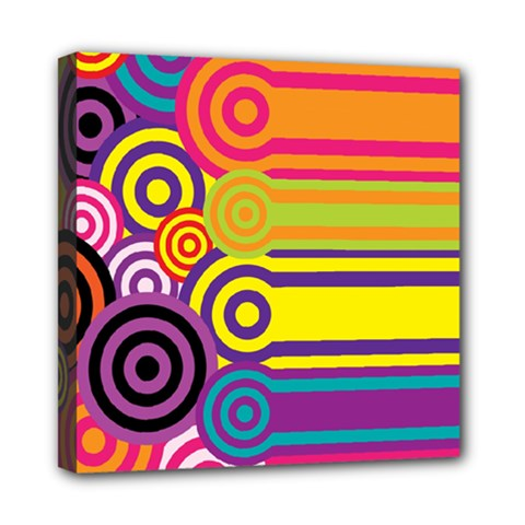 Retro Circles And Stripes Colorful 60s And 70s Style Circles And Stripes Background Mini Canvas 8  X 8